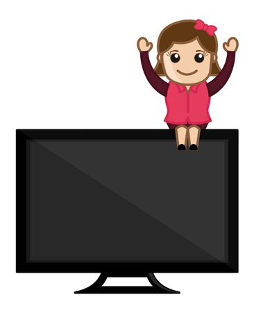 Woman Presenting TV Stock Vector - 20771855