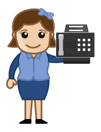 Fax Machine with Office girl Character Stock Vector - 20771840