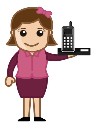 Mobile Phone with Office girl Character Stock Vector - 20771883