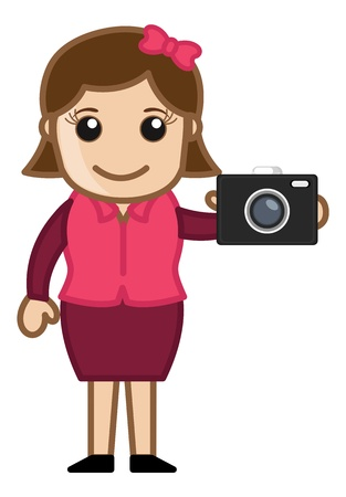 Digital Camera with Office girl Character Vector