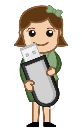 Data Card with Office girl Character Vector