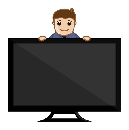 Man Showing TV Stock Vector - 20771962