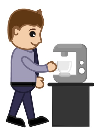 Man Getting Coffee from Coffee Machine Vector