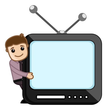Man Showing on Screen Stock Vector - 20771424