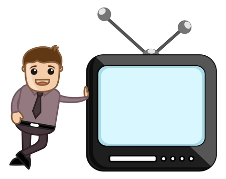 Mobile TV with Office man Character Stock Vector - 20771243