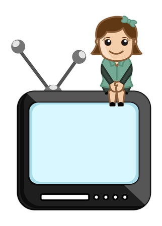 Female TV Assistance Stock Vector - 20771356