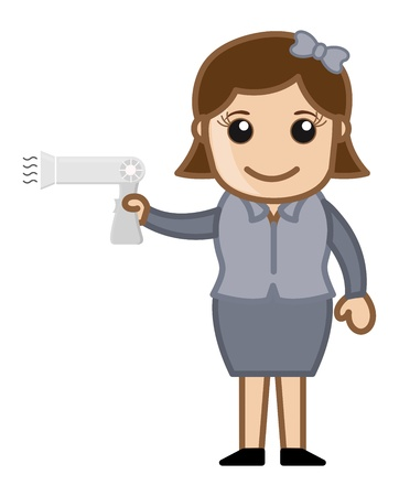 Girl with Hair Dryer Vector