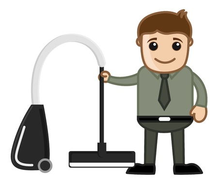 vacuum cleaner: Vacuum Cleaner with Office man Character Illustration