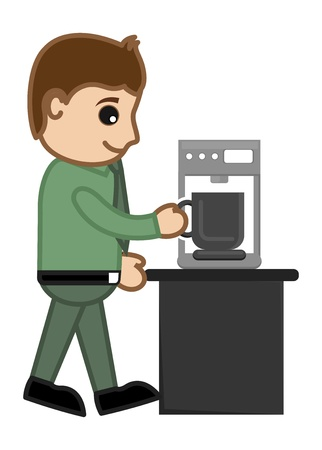 Coffee maker with Office man Character Vector