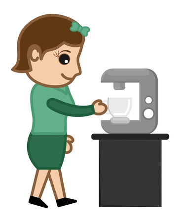 Coffee Machine with Office girl Character Vector