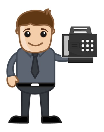 faxger�t: Faxger�t mit Office man Charakter