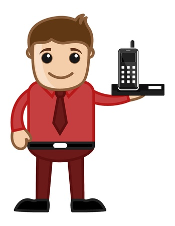 Mobile phone with Office man Character Stock Vector - 20771309