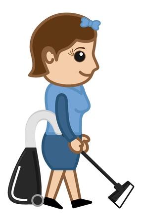 empleada domestica: Máquina de limpieza con la Oficina de caracteres niña