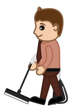 vacuum cleaner: Cleaning with Vacuum Cleaner by Office man Character