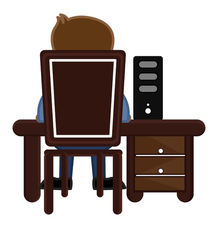 Man Working on Computer Stock Vector - 20771338