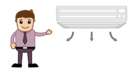 air conditioner: Air Conditioner with Office man Character