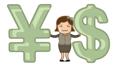 exchange loss: Currency Exchange Loss - Vector Illustration