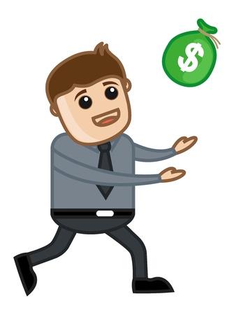Man Running for money - Vector Illustration Stock Vector - 21073717