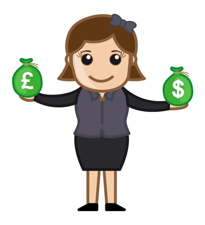 woman holding money: Forex Business - Vector Illustration