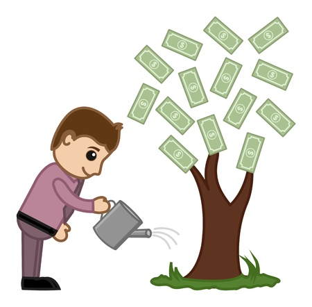 Watering Money Tree - Vector Illustration Vector