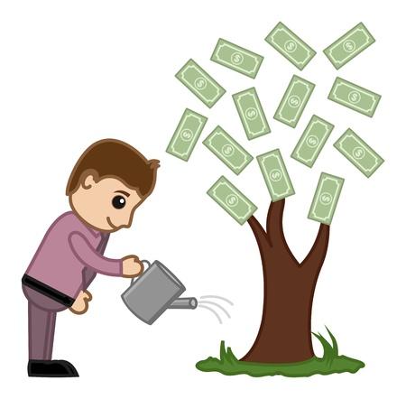 growing money: Watering Money Tree - Vector Illustration