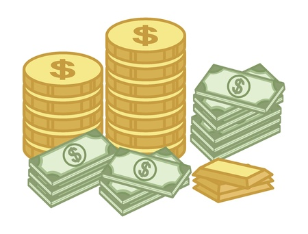 Cash and Gold Coin - Finance - Money - Treasure Cartoon - Vector Illustration 向量圖像