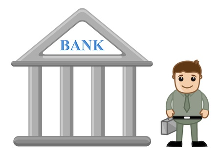 Banking Cartoon Concept - Vector Illustration Vector