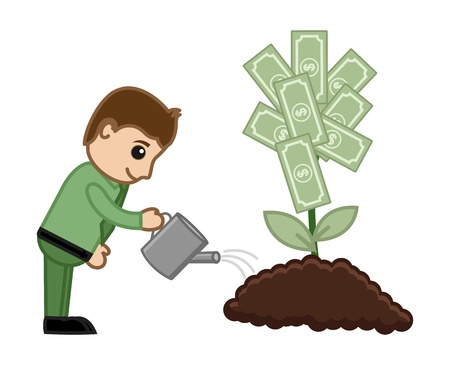 Tree of Money Cartoon Concept - Vector Illustration Vector