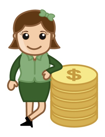 Woman Standinng with Coins - Money Concept - Vector Illustration Vector