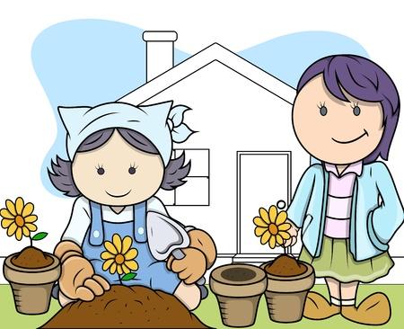 Gardening Hobby - Kids - Vector Illustration Vector