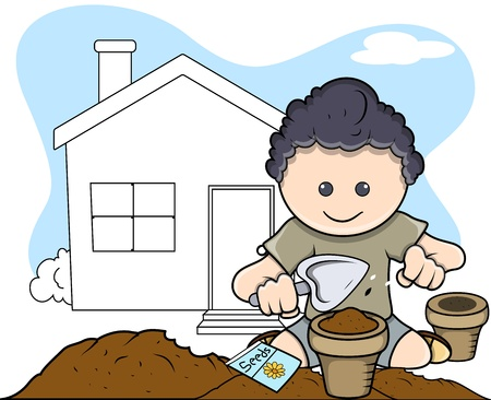 Planting - Kids - Vector Illustration Vector