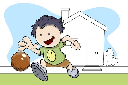 Boy Playing with Ball - Kids - Vector Illustration Vector