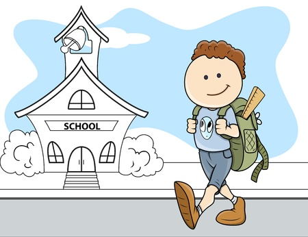 Boy Going to School - Kids - Vector Illustration Иллюстрация