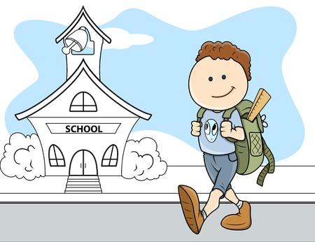 zapatos escolares: Muchacho que va a la escuela - ni�os - ilustraci�n vectorial