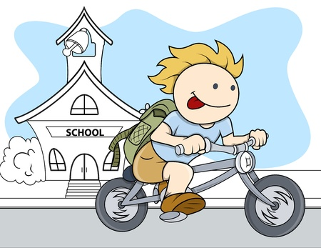 Boy Going From School - Kids - Vector Illustration Vector