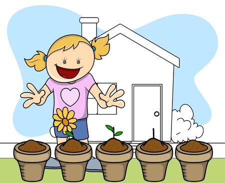Flower Plant - Gardening - Kids - Vector Illustration Vector