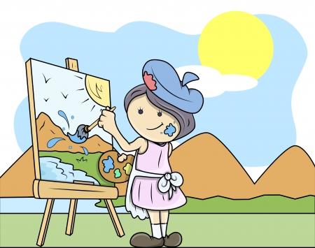 artboard: Painting Landscape - Kids - Vector Illustration