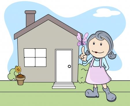 Girl Outside the House - Butterfly - Kids - Vector Illustration Vector