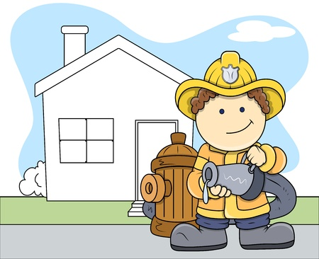 house work: Fireman - Kids - Vector Illustration Illustration