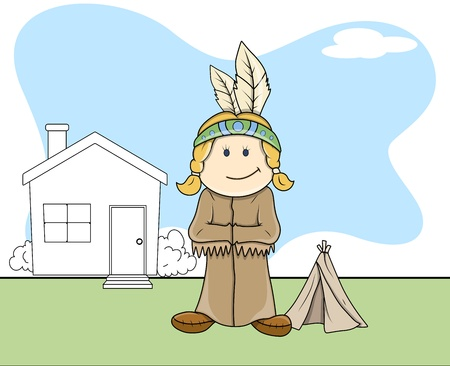 red indian: Red Indian - Kids - Vector Illustration