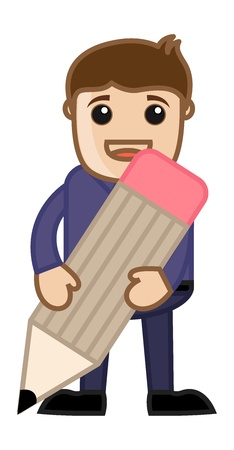Man Holding a Pencil - Cartoon Office Vector Illustration Vector