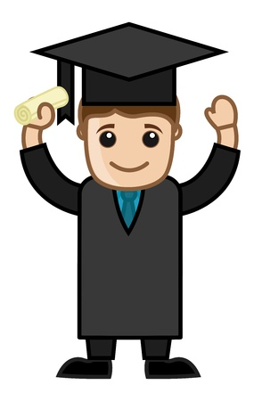 educated: Graduation Success - Cartoon Office Vector Illustration Illustration