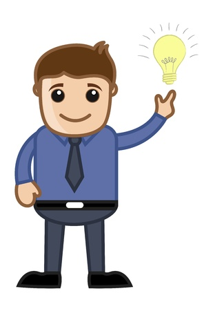 Idea Bulb with Man - Cartoon Office Vector Illustration Vector