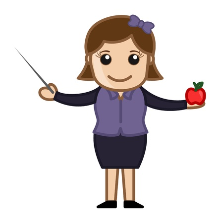 teaching adult: Teacher with Stick and Apple - Cartoon Character
