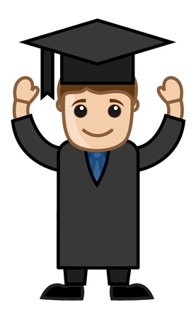 Graduation Day - Cartoon Office Vector Illustration Vector