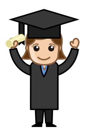 bachelor: Woman in Graduation Dress - Cartoon Office Vector Illustration Illustration