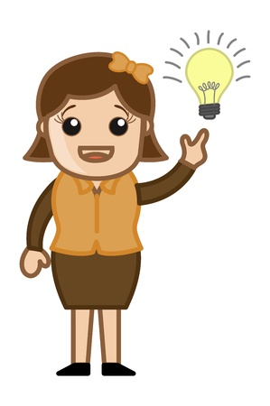Woman with Idea Bulb - Cartoon Office Vector Illustration Stock Vector - 21073866