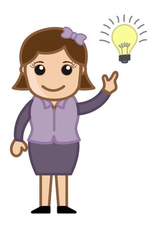 Girl with Idea Bulb - Cartoon Office Vector Illustration Stock Vector - 21073867