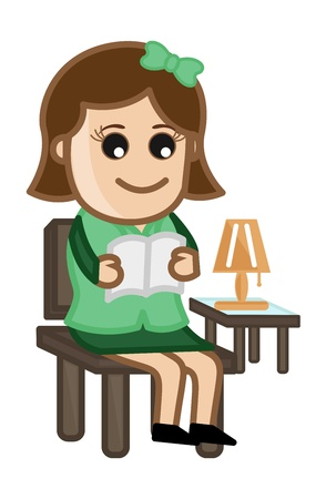 Woman Reading a Book - Cartoon Office Vector Illustration Vector