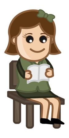 Woman Reading - Cartoon Office Vector Illustration Vector